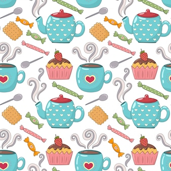Tea time cute seamless pattern with teacups, teapots and candies