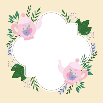 Tea time, cute teapot flowers decoration wreath delicate label  illustration