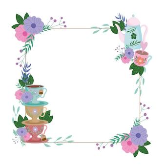 Время чая, декоративная рамка с чашками и цветами оставляет растения иллюстрации