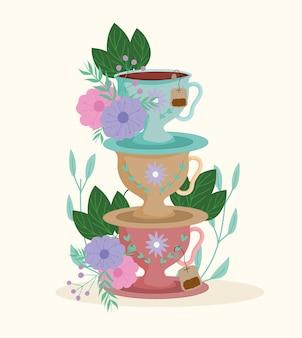 Время чая, декоративная стопка чашек и блюдце, травяные растения, иллюстрация природы