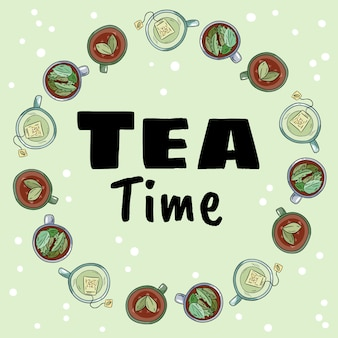 Tea time. decorative wreath of cups of green and herbal tea
