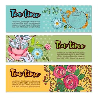 Набор шаблонов баннеров времени чая установлен