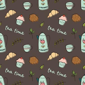 Tea time doodle background, breakfast seamless pattern