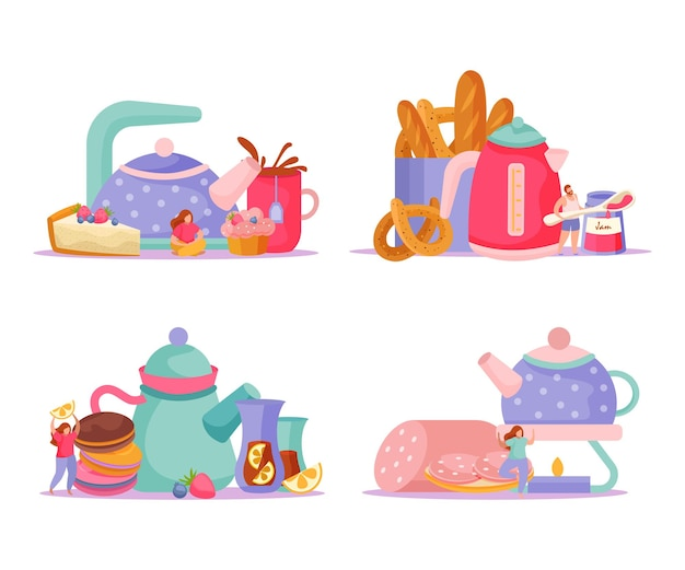 Tea time flat 4x1 set of isolated compositions with teapots cups snacks and doodle human characters  illustration