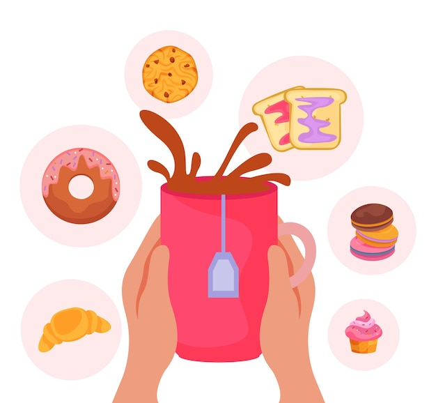 Плоская композиция времени чая с человеческими руками, держащими чашку и круглые значки сладких закусок на обед