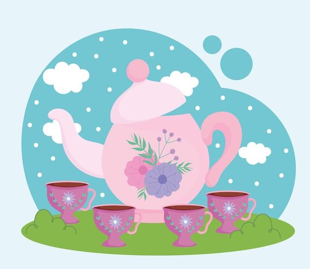 Время чая, цветочный декоративный чайник и чашки, ландшафтная иллюстрация