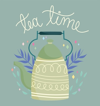 Tea time green kettle leaves decoration, kitchen ceramic drinkware, floral design cartoon illustration