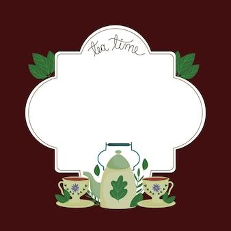 Tea time green teapot cups leaves nature badge design  illustration