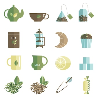 Tea time icons set flat