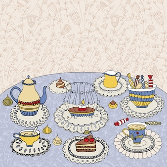 Tea time.  illustration with a cups, teapot, candy and candle
