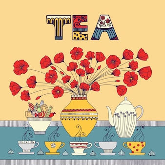 Tea time.  illustration with a cups, teapot, candy and flowers in a vase.