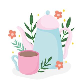 ティータイムケトルとカップの花植物、キッチンセラミックドリンクウェア、花柄の漫画イラスト