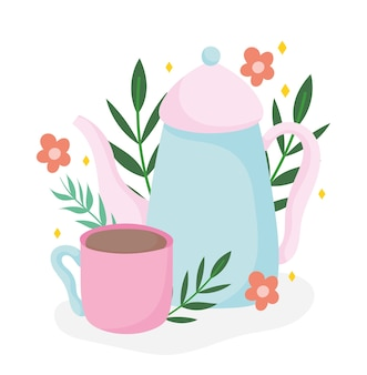 Tea time kettle and cup flowers botanical, kitchen ceramic drinkware, floral design cartoon illustration