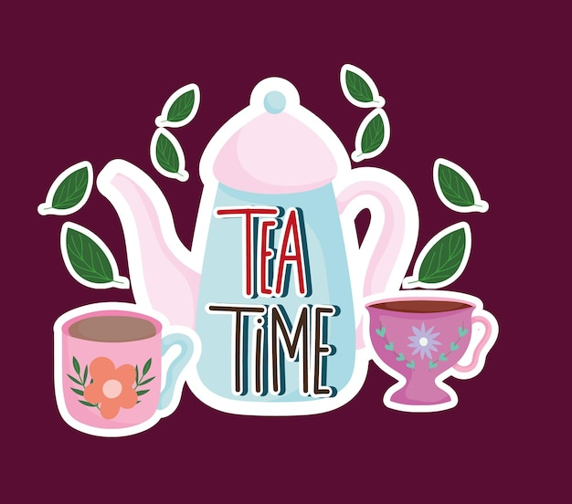 Tea time kettle and cups leaves mint nature herbal  illustration