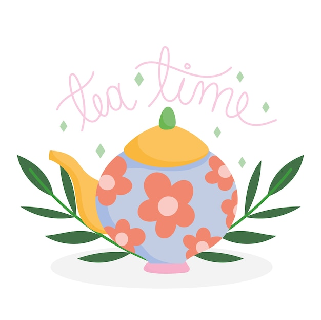 Tea time kettle with printed flowers decoration, kitchen ceramic drinkware, floral design cartoon illustration