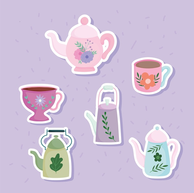 Tea time kettles and cups flower leaves printed stickers, kitchen ceramic drinkware, floral design cartoon illustration
