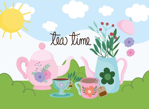 Tea time, kettles cups with herbs leaves nature landscape  illustration