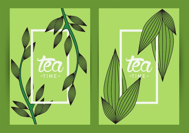 Tea time lettering poster with leafs frames