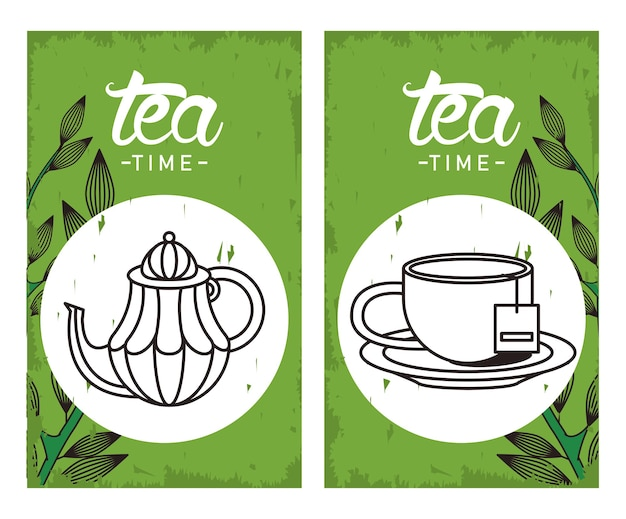 Tea time lettering poster with teapot and cup in square frames