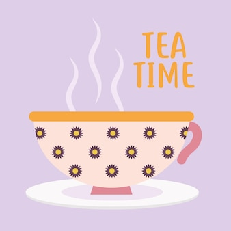 Tea time lettering with pink cup of coffee and flowers