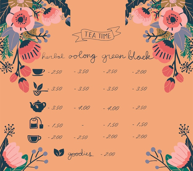 Tea time restaurant menu flower background