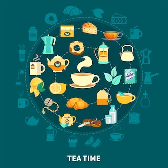 Tea time round composition