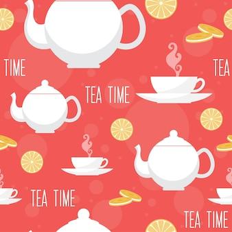 Tea time seamless pattern background
