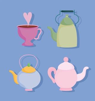 Время чая, набор кухонных керамических чайников, чашка, посуда, мультяшный дизайн, иллюстрация