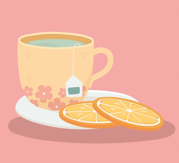 Tea time, teacup and slice oranges in plate