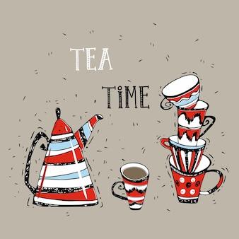 お茶の時間。ティーポットと落書きスタイルのかわいいマグカップ。ベクター。