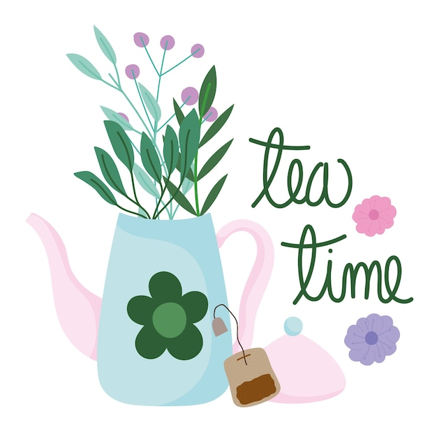 Tea time teapot and teabag flowers kitchen drinkware, floral design cartoon illustration
