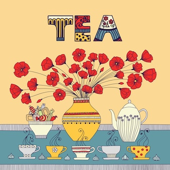 Tea time. vector illustration with a cups, teapot, candy and flowers in a vase.