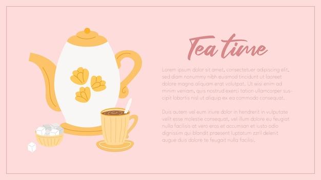 お茶と砂糖のポットカップとお茶の時間のwebバナーテンプレート