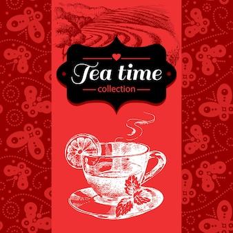 Чай старинный фон. рисованной иллюстрации эскиз. дизайн меню и упаковки