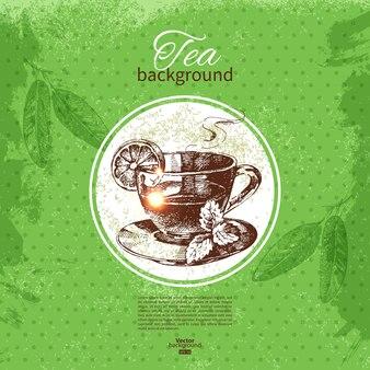 Tea vintage background. hand drawn sketch illustration. menu design