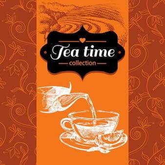 Tea vintage background. hand drawn sketch illustration. menu and package design
