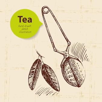 お茶のヴィンテージの背景。手描きスケッチイラスト