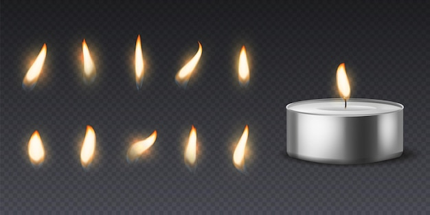 Tea wax candle with flame. realistic round burning 3d candles light and varios flames collection for animation picture, vector set isolated on black background