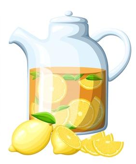 ガラスのやかんでレモンティー。レモンの葉全体とレモンのスライス。装飾的なポスター、エンブレム天然物、ファーマーズマーケット。白背景に、