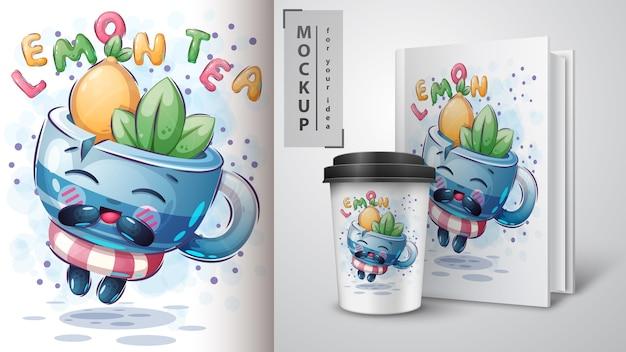 Poster e merchandising di tè con menta e limone
