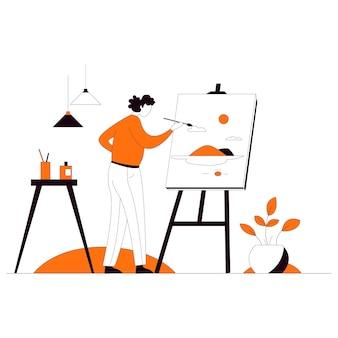 描画教育フラットスタイルイラストベクトルを教える