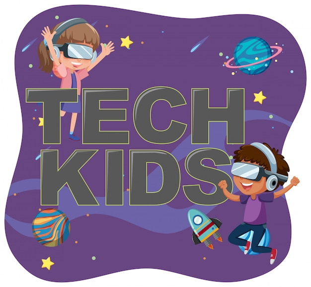 Teach kids icon with kids character