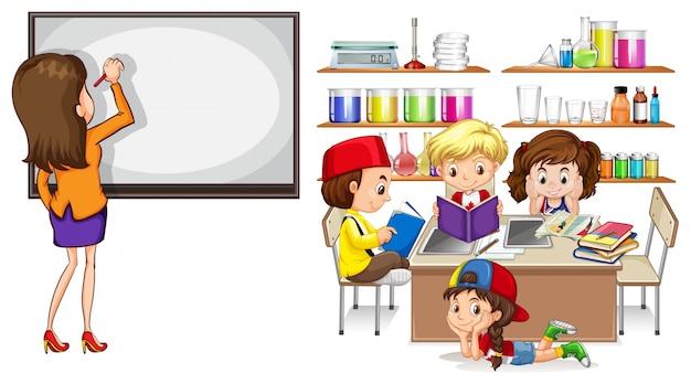Учитель и дети в классе