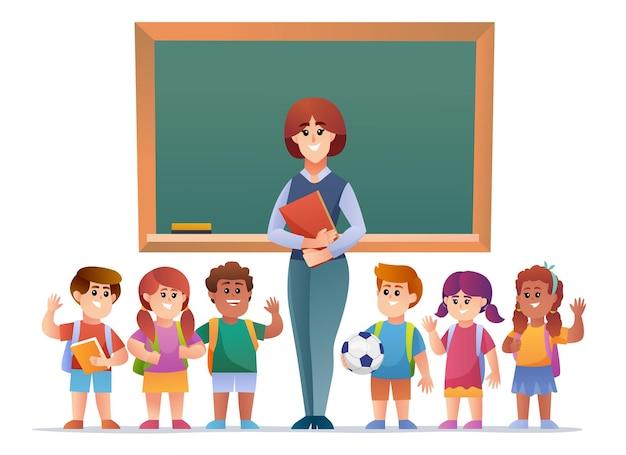 黒板イラストの前で教師と子供たちの学生