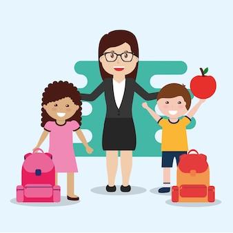 教師と幸せな生徒のバックパックとリンゴ
