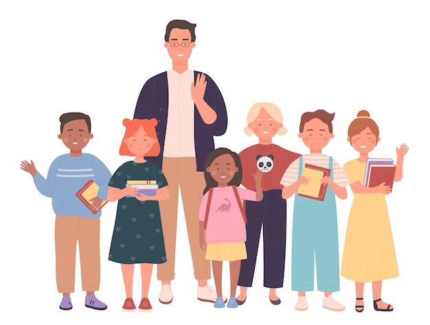 Учитель и дети люди вместе иллюстрации