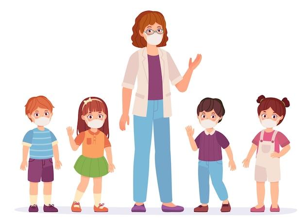 Учитель и ученик в масках. новая нормальная жизнь в школе или детском саду. дети учатся безопасной, предотвращающей вектор болезни covid-19. ученики мальчиков и девочек во время пандемии
