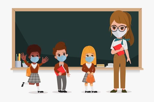 新しい通常のライフスタイルでクラスを開始する教師と生徒。