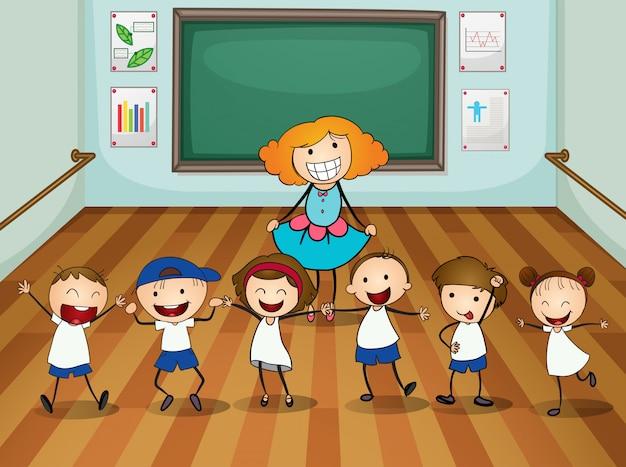 댄스 수업 교사와 학생들
