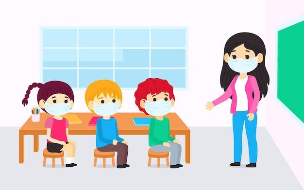 クラスでフェイスマスクを着用している教師と生徒
